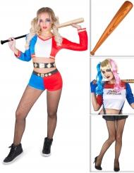 Pakke kostume harlekin inklusiv paryk, netstrømper og bat Halloween