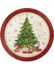 Tallerkener 8 stk. rød med juletræ 22 cm