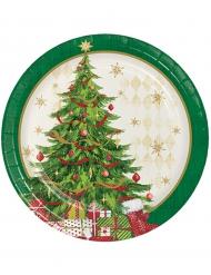 Juletallerkener -8 stk paptallerkener med juletræ