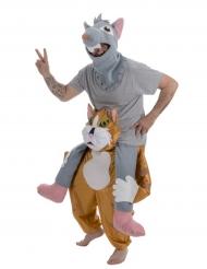 Kostume kat med mus på ryggen