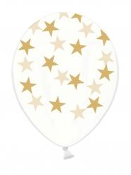 Balloner 6 stk. latex gennemsigtig med guld stjerner