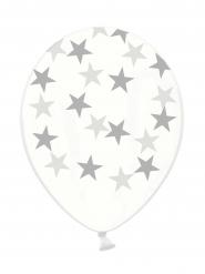 6 balloner gennemsigtige sølvstjerner