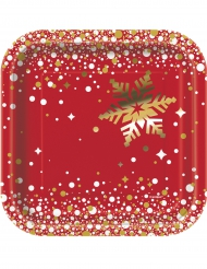 Tallerkener 8 stk. rød og guld jul 18 cm