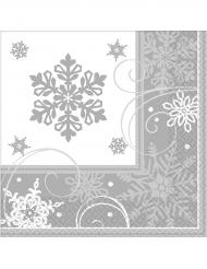 16 små papirservietter med snefnug 25 x 25 cm
