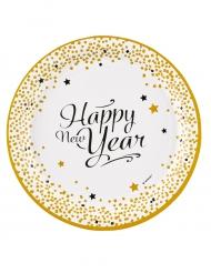 Tallerkener 8 stk. Happy New Year guld 23 cm
