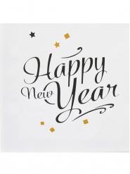 Servietter 20 stk. Happy New Year guld 33x33 cm
