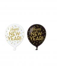 6 Balloner latex happy new year guld
