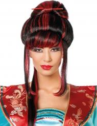 Paryk kinesisk rød og sort til kvinder