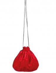 Velour taske i rød 27 cm