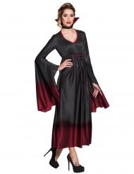 Kostume vampyr sort og rød til kvinder Halloween