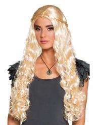 Paryk lang blond med små fletninger!