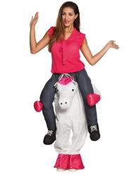 Kostume kvinde på ryggen af en unicorn til voksne