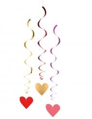 Dekoration 3 stk hængende hjerter