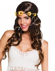 Paryk lang brun med blomstret pandebånd til kvinder