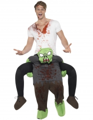 Kostume mand på ryggen af en zombie til voksne Halloween