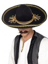 Sombrero sort og guld luksus til voksne