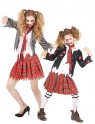 Kostume zombie skolepige mor og datter til Halloween