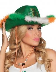 Cowboy hat med pels og trekløver til voksne St Patrick
