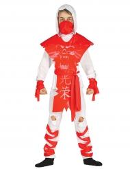 Kostume ninja spøgelse hvid og rød til drenge