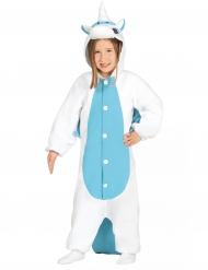 Heldragt enhjørning hvid og blå til børn!