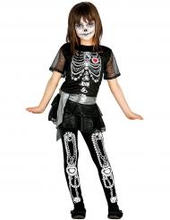Sødt Halloween skeletkostume til piger