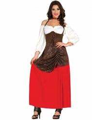 Kostume middelalder kvinde i rød og brun