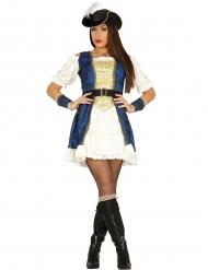 Kostume pirat i blå og guld til kvinder