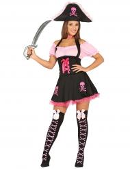 Kostume lyserød pirat til kvinder