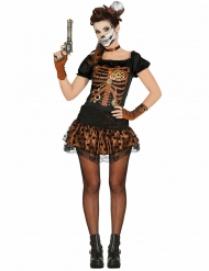 KOstume skelet sort og kobber til kvinder Halloween