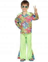 Kostume hippie grøn med farvede symboler til drenge