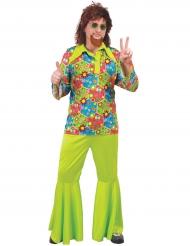 Kostume hippie grøn med farvede symboler til mænd