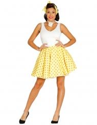 Gul nederdel og tørklæde med prikker til kvinder
