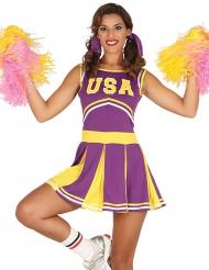 Kostume cheerleader USA gul og lilla