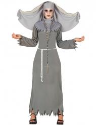 Kostume besat nonne grå til kvinder til Halloween