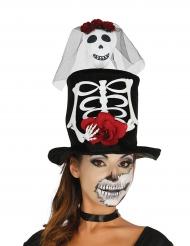 Højhat med skelet til voksne Halloween