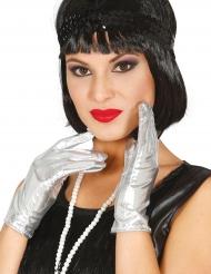 Korte sølvfarvede handsker til kvinder