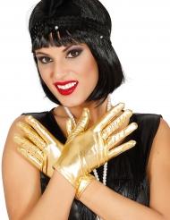 Korte gyldne metalfarvede handsker til kvinder