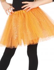 Tylskørt orange med glimmer til piger