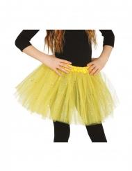 Tylskørt i gul med glimmer til piger