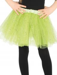 Tylskørt i grøn med glimmer til piger