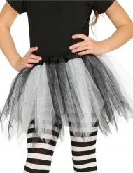 Tylskørt i sort og hvid med pailletter til piger