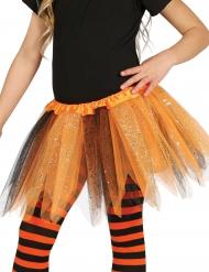Tylskørt i sort og orange med pailletter til piger