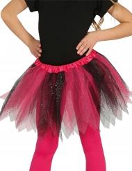 Tylskørt i sort og rosa med pailletter til piger