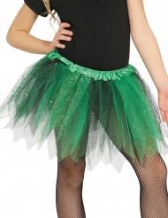 Tylskørt i sort og grøn med pailletter til piger
