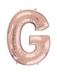 Ballon aluminium bogstav G i i rosaguld 63x81 cm