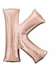 Ballon aluminium bogstav K rosa-guld 66 x 83 cm