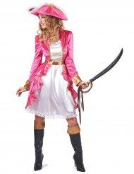 Kostume lyserød barok pirat til kvinder