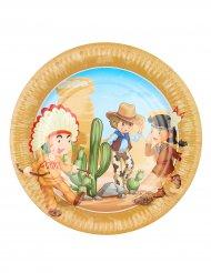 Caowboy og indiander paptallerkener 23 cm