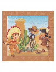 Servietter 20 stk. cowboy og indianer