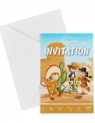 6 Cowboy og indianer invitationskort med kuverter  10 x 15 cm